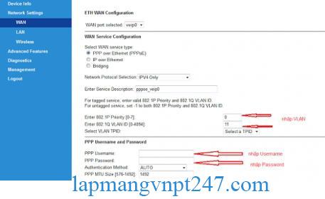hướng dẫn cấu hình modem VNPT