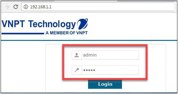 Giao diện đăng nhập modem VNPT