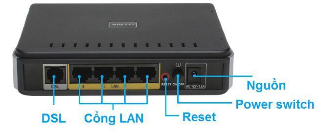 Cục wifi và các cổng cắm đường truyền mạng